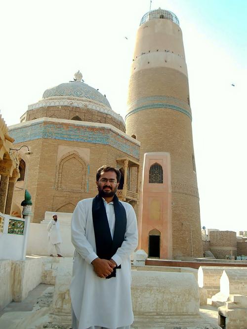 Dr. Ali Abbas Shah at Ma'soomi Minar in Sukkur